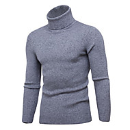 Men's Solid Colored Long Sleeve Slim Pullover Sweater Jumper, Turtleneck Black / Wine / Light gray XL / XXL