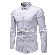 Men's Floral Print Shirt Basic Elegant Daily Going out Wine / White / Black / Navy Blue / Long Sleeve