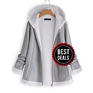 preiswerte -Damen Alltag Winter Standard Jacke, Solide Mit Kapuze Langarm Polyester Grau / Wein / Khaki