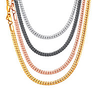 Men's Women's Choker Necklace Chain Necklace Necklace Vertical / Gold bar Trendy Rock Fashion Copper Black Rose Gold Gold Silver 36+5/46/51/55/61/66/71/76 cm Necklace Jewelry 1pc For Gift Daily
