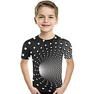 preiswerte -Kinder Baby Jungen Aktiv Grundlegend Geometrisch Druck Einfarbig Druck Kurzarm T-Shirt Schwarz