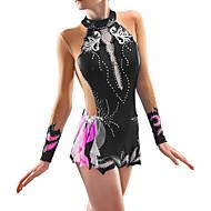 povoljno -Triko za ritmičku gimnastiku Trikoi za ritmičku gimnastiku Žene Djevojčice Haljine Crn Spandex Visoka elastičnost Ručno izrađen Jeweled Izgled dijamanta Dugih rukava Natjecanje Plesne Klizanje na