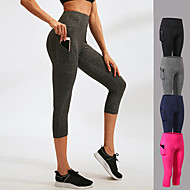 cheap -YUERLIAN Women's High Waist Running Tights Leggings Running Capri Leggings Running Cropped Tights Sports & Outdoor 3/4 Tights Leggings with Phone Pocket Elastane Fitness Gym Workout Running Jogging