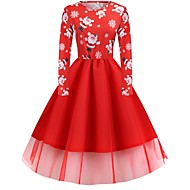 Women's Christmas Party Elegant A Line Dress - Floral Black Blue Red S M L XL