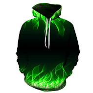 cheap -Men's Plus Size Daily Hoodie 3D Hooded Casual Basic Hoodies Sweatshirts  Slim Green
