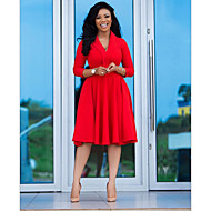 Women's Boho Swing Dress - Solid Colored Red S M L XL