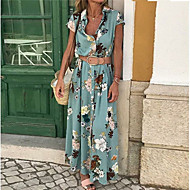 Women's Maxi Slim Sheath Dress V Neck Cotton Light Blue Purple Yellow S M L XL