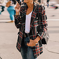 Women's Going out / Work Street chic Spring &  Fall Long Jacket, Plaid Shirt Collar Long Sleeve Polyester Black / Wine / Purple