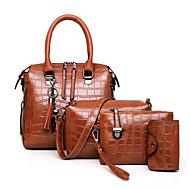Women's Zipper PU Bag Set Solid Color 4 Pieces Purse Set Black / Brown / Blue