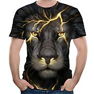 billige -Herre Plusstørrelser T-shirt Grafisk Dyr Trykt mønster Toppe Gade overdrevet Rund hals Sort Blå Lilla / Kortærmet / Sommer