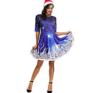 Women's Christmas Party Skater Dress - Polka Dot Purple Blue S M L XL