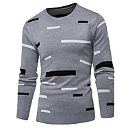 Men's Geometric Long Sleeve Pullover Sweater Jumper, Round Neck Navy Blue / Gray / Khaki US32 / UK32 / EU40 / US34 / UK34 / EU42 / US36 / UK36 / EU44