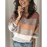 Women's Color Block Long Sleeve Pullover Sweater Jumper, Round Neck Blushing Pink S / M / L