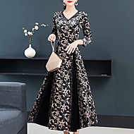 Women's Daily Wear Going out Vintage Elegant Sheath Swing Dress - Floral Print Black M L XL XXL