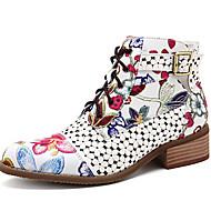 povoljno -Žene Čizme Ispis cipela Ravna potpetica Okrugli Toe PU Čizme gležnjače / do gležnja Jesen zima Crn / Crvena
