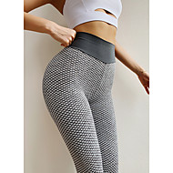 cheap -Women's High Waist Yoga Pants Ruched Butt Lifting Jacquard Leggings White Black Purple Spandex Gym Workout Running Fitness Sports Activewear High Elasticity Skinny