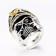 Men's Adjustable Ring 1pc Silver Silver-Plated Geometric Fashion Daily Holiday Jewelry Geometrical Skull Cool