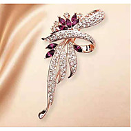 Women's Cubic Zirconia Brooches Classic Flower Classic Basic Brooch Jewelry Purple For Party Graduation Gift Daily Festival