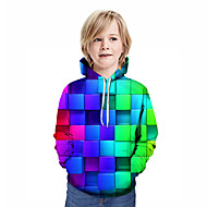 cheap -Kids Boys' Active Street chic Geometric 3D Patchwork Print Long Sleeve Hoodie & Sweatshirt Rainbow