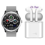 N58 smartwatch aço inoxidável bt rastreador de fitness suporte ecg ppg hrv / relatório de freqüência cardíaca pressão arterial com fone de ouvido sem fio tws grátis