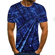 Men's Daily Going out Street chic / Exaggerated T-shirt - 3D / Graphic / Letter Pleated / Print Blue