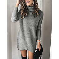 Women's Solid Colored Long Sleeve Pullover Sweater Jumper, Turtleneck Gray / Khaki S / M / L