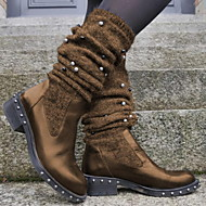 Women's Boots Comfort Shoes Low Heel Round Toe PU Mid-Calf Boots Fall & Winter Black / Brown / Wine