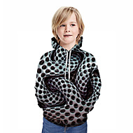 cheap -Kids Boys' Active Streetwear Geometric 3D Patchwork Print Long Sleeve Hoodie & Sweatshirt Black