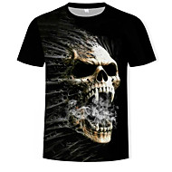 Men's Daily Street chic T-shirt - Color Block / 3D / Skull Print Black