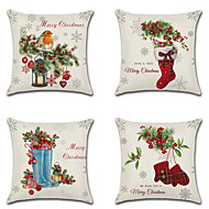 4 pcs Linen Pillow Cover, Holiday Cartoon Traditional Christmas Throw Pillow