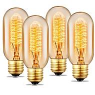 4pcs 40 W E26 / E27 T45 Varmvit 2200 k Glödande Vintage Edison glödlampa 220-240 V / 110-130 V