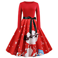 Women's Plus Size Christmas Christmas Gifts Party Vintage Street chic Sheath Dress - Floral Pleated Print Halter Neck Red M L XL XXL