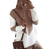 Women's Color Block Long Sleeve Pullover Sweater Jumper, Round Neck Black / Gray / Khaki S / M / L