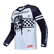 CAWANFLY Men's Long Sleeve Cycling Jersey Downhill Jersey Dirt Bike Jersey White Novelty Bike Top Mountain Bike MTB Quick Dry Sports Polyester Clothing Apparel / Expert / Stretchy