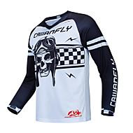 CAWANFLY Erkek Uzun Kollu Bisiklet Forması Yokuş aşağı Jersey Dirt Bike Forması Kış Tüylü Kumaş Polyester Beyaz Kuru Kafalar Bisiklet Forma Üstler Dağ Bisikletçiliği Sıcak Tutma Nefes Alabilir Hızl