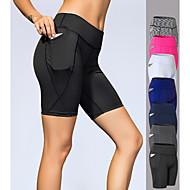 cheap -YUERLIAN Women's High Waist Yoga Shorts Pocket Shorts Tummy Control Butt Lift 4 Way Stretch White Black Navy Blue Spandex Fitness Gym Workout Running Sports Activewear High Elasticity Slim