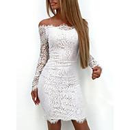 Kadın's Beyaz Elbise Zarif Seksi Kokteyl Partisi Dışarı Çıkma Doğum Dünü Bandaj Paisley Solid Düşük Omuz Dantel S M İnce / Dantelalar / Kemer Dahil Değildir