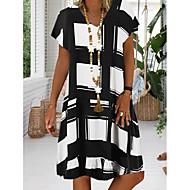 cheap -Women's Plus Size Sundress Dress - Short Sleeve Geometric Print Summer V Neck Casual Vacation 2020 Black Red Royal Blue S M L XL XXL XXXL XXXXL XXXXXL