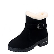Women's Boots Chunky Heel Round Toe Suede Mid-Calf Boots Fall & Winter Black