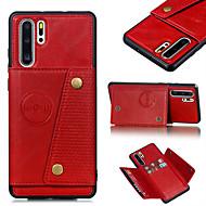 Etui Til Huawei Huawei P20 / Huawei P20 lite / Huawei P30 Pung / Kortholder / Med stativ Bagcover Ensfarvet PU Læder