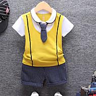 Børn Baby Drenge Basale Skole Stribet Ensfarvet Blondér Kortærmet Normal Normal Tøjsæt Sort
