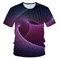 Men's Daily Holiday Street chic / Exaggerated T-shirt - Color Block / 3D / Graphic Print Purple