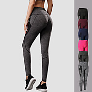 cheap -YUERLIAN Women's High Waist Running Tights Leggings Compression Pants Sports & Outdoor Leggings Pocket Patchwork Mesh Elastane Fitness Gym Workout Running Jogging Tummy Control Butt Lift Quick Dry