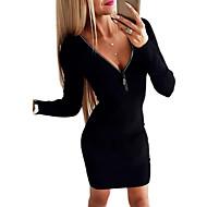 女性用 シース ドレス - 長袖 ソリッド レース ディープVネック エレガント ホワイト ブラック グレー S M L XL XXL