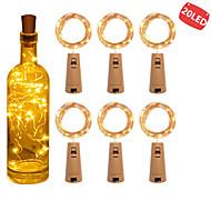 billige -6stk 2m 20 lys vinflaske lys med kork innebygd batteri ledet kork form sølv kobbertråd fargerik fe mini streng lys