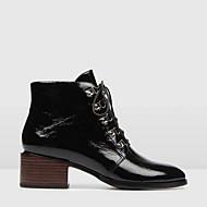 Women's Boots Chunky Heel Round Toe PU Mid-Calf Boots Fall & Winter Black / Wine / Green