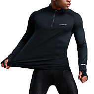 cheap -UABRAV Men's Half Zip Sweatshirt Running Shirt Long Sleeve Breathable Quick Dry Soft Fitness Running Jogging Sportswear Solid Color Top Dark Navy Activewear Stretchy
