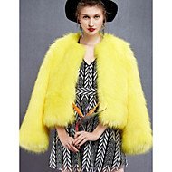 Women's Daily Fall & Winter Regular Faux Fur Coat, Solid Colored V Neck Long Sleeve Faux Fur Yellow