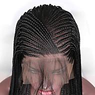 Συνθετικές μπροστινές περούκες δαντέλας Πλεκτά κουτιά Πλεξίδα Δαντέλα Μπροστά Περούκα Μακρύ Μαύρο Συνθετικά μαλλιά 24-26 inch Γυναικεία Ρυθμιζόμενο Ανθεκτικό στη Ζέστη Πάρτι Μαύρο