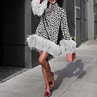 Women's Elegant A Line Dress - Leopard White Red Brown S M L XL